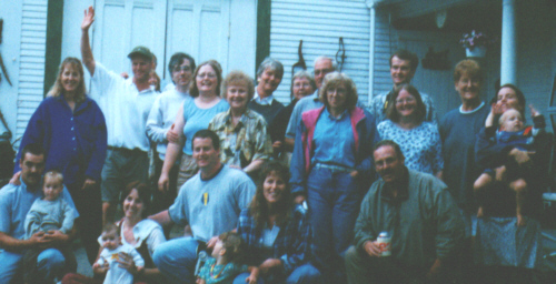 First row:  Joe & Joshua Welch, Nikki, Parker & Howard Hazen, Heidi, Skip & Sybil Hazen, Trina & Cyrus Rahm.  Second row:  Andrea Welch, Terry Trask, Jim & Laurie Mann, Ruth Trask,  Nancy Rahm, Alice Bassett Jeff Trask, and some friends of my mothers.