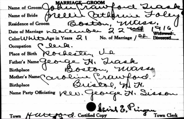 Marriage License, John Trask and Nellie Foley