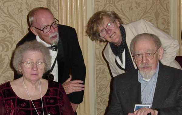 Harry Harrison and Katherine MacLean with Fruma and Phil Klass (William Tenn)