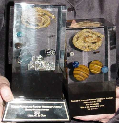 Nebulas Up Close:  Grand Master Award and Ted Chiang's (held by Eileen Gunn)