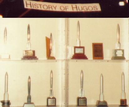 Assorted Hugos from the MagiCon Hugo Exhibit