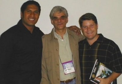 Sala Baker, Jeff Walker and Sean Astin Taken Just Before the 2002 Hugo Award Ceremony