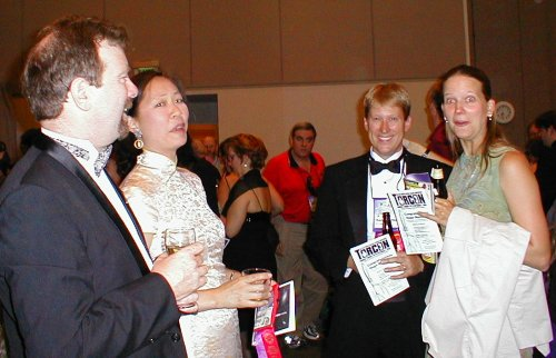 Pre-Hugo Reception - James Patrick Kelly (Best Novelette Nominee), Brenda Clough (Best Novella Nominee), Ken Wharton (Campbell Award Nominee) and his Wife Kate (Photographer Charles Mohapel in Background)