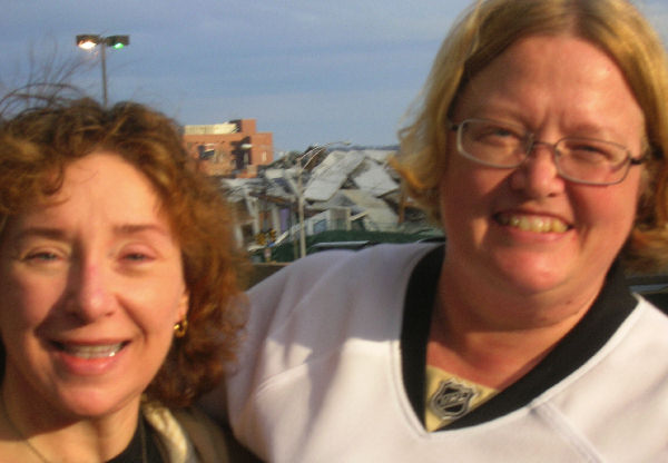 Shirley and Laurie, just outside the Mellon Arena