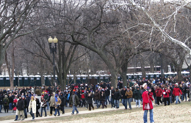 Sunday, January 18 - Crowd Downhill from the Washington Monument