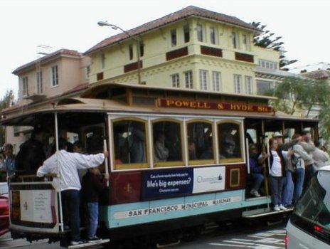 Cable Car at Top of Lombard St.