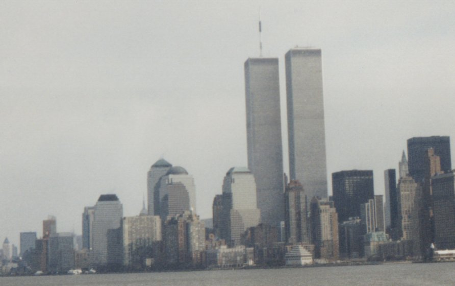 World Trade Center from the Hudson River (Distance Shot, February 1999)