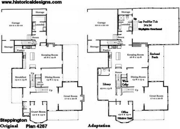 vf4267 first floor plans original and adapted